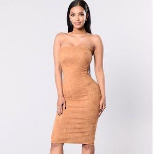 2X Mustard Suede Dress